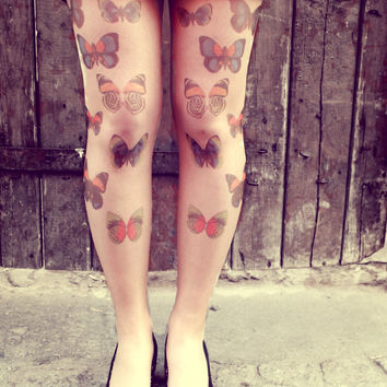 Colorful Spring Butterflies - Tattoo Tights - Free Shipping - Made to order :)