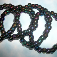 Set of 4 Deep Rainbow Bead Bracelets / Soft Grunge, Goth Kandi Rave Rainbow Black Bracelets
