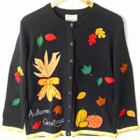 """Quacker Factory """"Autumn Greetings"""" Thanksgiving Ugly Sweater - New! - The Ugly Sweater Shop"""