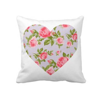 Cute Big Heart with Girly Chic Vintage Roses Throw Pillows from Zazzle.com