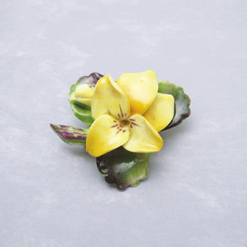 Yellow Flower Brooch Vintage Cara Staffordshire China Jewelry P6185