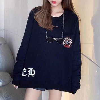 """Chrome Hearts"" Women Fashion Cool Cross Pattern Print Embroidery Long Sleeve Sweater Tops"
