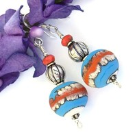 Southwest Lampwork Handmade Earrings Turquoise Ivory Red Sterling OOAK