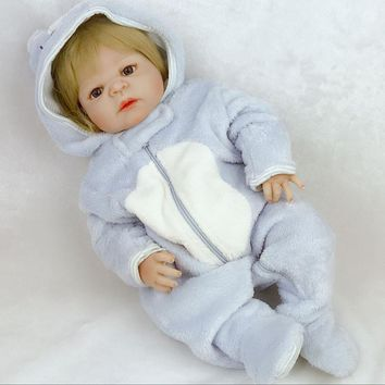 NPK 57 cm Lifelike Reborn Babies Full Silicone Body Real Baby Doll For Boy Toddler Toys with Gold Hair kids Xmas Gifts