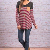 Right About Stripes Top, Crimson-Black
