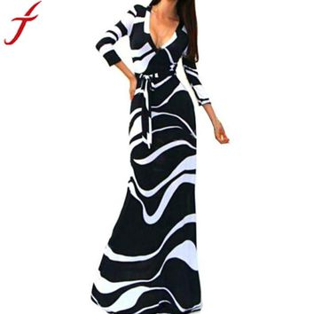 Striped V Neck 3/4 Sleeve High Waist Maxi Dress