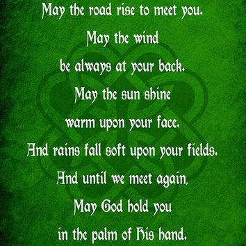 Irish Blessing Prayer May the Road Rise Up Green Celtic Knot 18x24 - Vinyl Print Poster