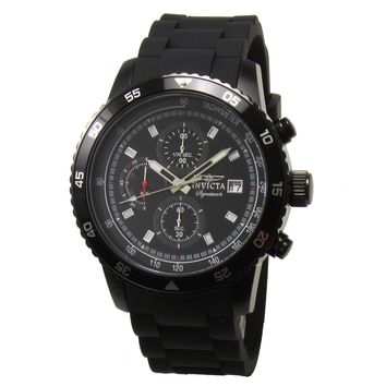 Invicta 7399 Men's Signature II Quartz Black Dial Chronograph Black Rubber Strap Watch