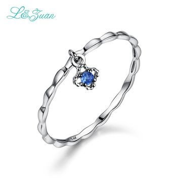 L&zuan 14K White Gold Natural Small Blue Stone Sapphire Flower Trendy Party Rings For Women Wedding Bands Fine Jewelry 0012-1