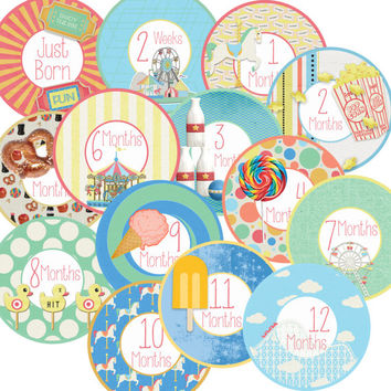 14 Carnival Fair Carousel Roller Coaster Popcorn Candy Ice Cream Unisex Neutral Baby Monthly Milestone Onesuit Stickers Newborn Shower Gift