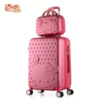 "Hello Kitty travel luggage sets 20""22""24""26""28"" inch suitcase set with 14"" make up case,suitcase kids,trolly bag for traveling"
