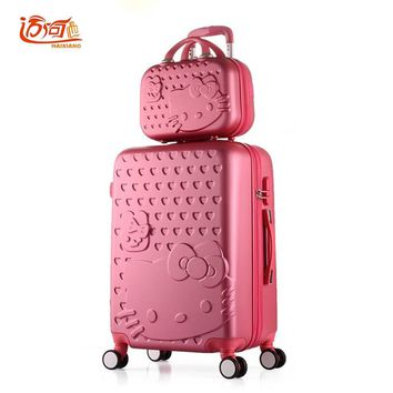 """Hello Kitty travel luggage sets 20""""22""""24""""26""""28"""" inch suitcase set with 14"""" make up case,suitcase kids,trolly bag for traveling"""