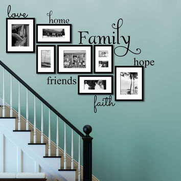 Family Wall Decal - by Decor Designs Decals, Set Of 6 Family Words - Family Room Wall Decals - Wall Art - Family Decals - Family Words Decal- Family Quote Decals U21