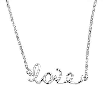 Italian Sterling Silver Love Necklace Pendant