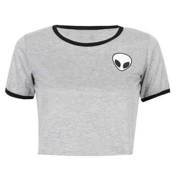 Gray Alien Print Cropped Ringer T-shirt