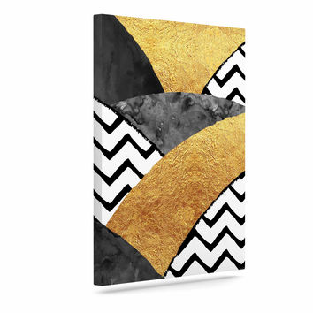 "Zara Martina Mansen ""Chevron Hills"" Gold Black White Canvas Art"