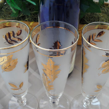 3 Fluted Gold Leaf Frosted Stemware - Vintage Champagne Gold Leaf and Trim Glasses