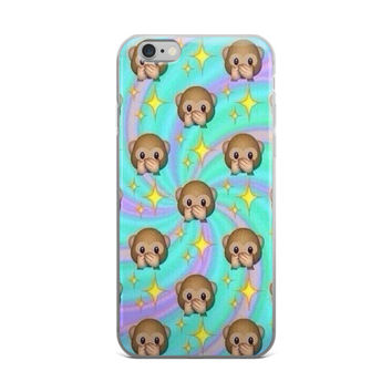 Shocked Monkey & Glowing Stars Emoji Collage Teen Cute Girly Girls Tie Dye Swirl Lime Green Purple & Pink iPhone 4 4s 5 5s 5C 6 6s 6 Plus 6s Plus 7 & 7 Plus Case