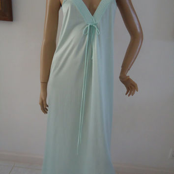 1960 Vintage Barad & Co ILGWU Union Made Ladies Nightwear Lingerie Nightie  Aquamarine Color Size Petite Long Sexy Nightgown