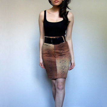 80s Animal Print Skirt High Waisted Jean Pencil Skirt - Extra Small XXS