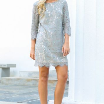 Eternal Bliss Grey Lace Dress