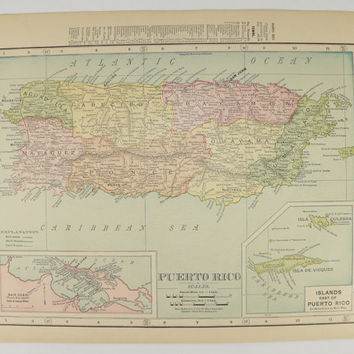 Antique Puerto Rico Map 1899 United States Map of Territory Growth, Vintage Map Puerto Rico, Gift for Family, US History Buff Gift