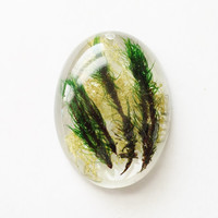Oval Moss Pendant, Real Moss in Crystal Clear Resin, Handmade Pendant