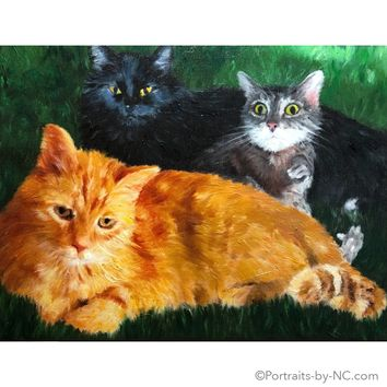 Cats Group Portrait in Oil 684