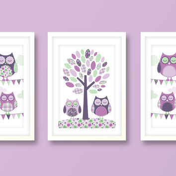 Nursery art girl, baby girls print set, owl nursery art, owl prints, nursery prints, girls bedroom, kids room, minty green-violet
