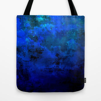 SECOND STAR TO THE RIGHT Rich Indigo Navy Blue Starry Night Sky Galaxy Clouds Fantasy Abstract Art Tote Bag by EbiEmporium