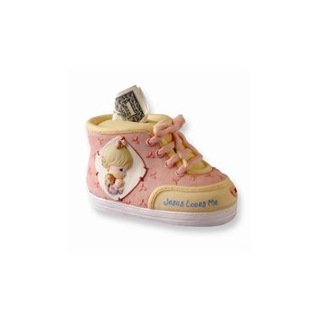 Precious Moments Pink Baby Shoe Bank