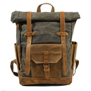 University College Backpack Brand Vintage Laptop  Men Canvas Leather  Weekend School Bags Casual Bookbag Mens Waterproof Travel Bag RucksackAT_63_4