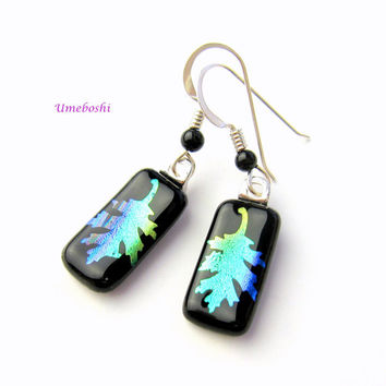 Fallen Oak Leaves Handmade Dichroic Glass Dangling Earrings on Black with Onyx Beads by Umeboshi Jewelry Designs