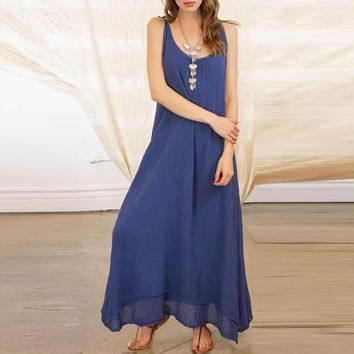 Fashion ZANZEA Women Strappy Lace Up Solid Loose Summer Backless Long Dress Casual Cotton Linen Party Beach Vestido Plus Size