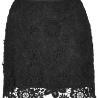 Black Floral Crochet Bodycon Mini Skirt