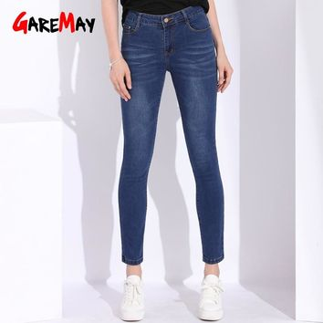 Mom Jeans Women With High Waist Women's Pants Winter Stretch Basic Skinny Jeans Woman 2018 Plus Size Denim Pants Femme Cotton