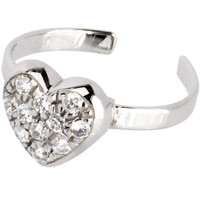 Sterling Silver 925 Cubic Zirconia ENCRUSTED HEART Toe Ring | Body Candy Body Jewelry