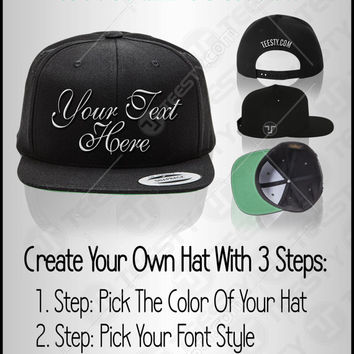 Custom Snapback Cap, Personalized Hat, Custom Hat Embroidery, Customized Cap, Custom Logo, Create Your Own Hat, Monogrammed Hat, Cap