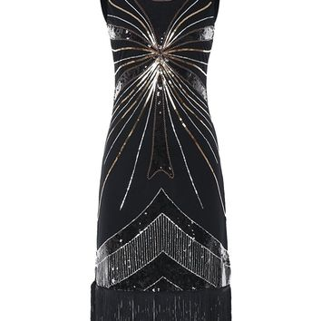 Fringed Flapper Party Ball Dress