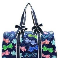 Bow Tie Print Quilted Duffel Bag