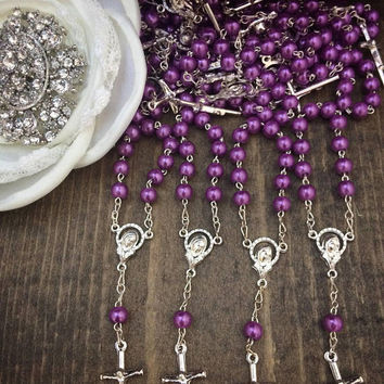 25pcs Purple Silver Cross (Smooth Bead)