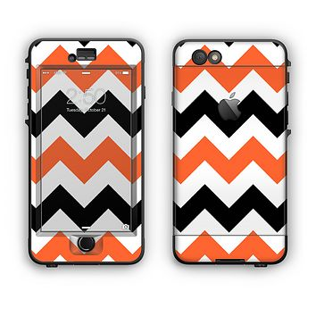 The Orange & Black Chevron Pattern Apple iPhone 6 Plus LifeProof Nuud Case Skin Set