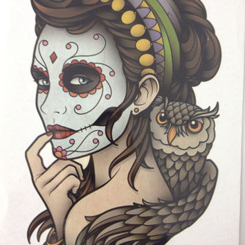 "Beautiful Waterproof Fake Tattoo - Girl In Painted Mask 8"" x 5"" - Just Pay Shipping"