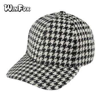 Trendy Winter Jacket Winfox New Fashion Unisex Black White Houndstooth Plaid Baseball Caps Dad Hat For Womens Mens AT_92_12