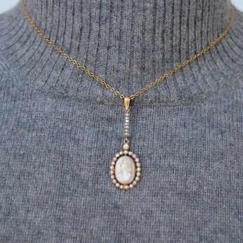10K Gold Pink Shell Cameo, Genuine Diamond, Real Pearls Lavalier Necklace Edwardian
