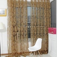 Noble Window Screens Tulle Window Bronzing Flower Door Curtain Panel Sheer Scarfs Curtain for Living Room Bedroom