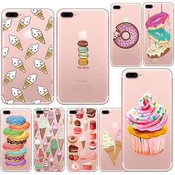 Lovely Donut Candy Ice Cream Dessert Food Transparent TPU Case Cover For Iphone 6 6s 5 5s SE 7 7Plus Fashion Cell Phone Cases