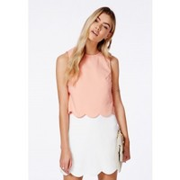 Missguided - Orlina Pink Scallop Layered Mini Dress