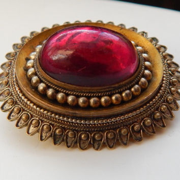 victorian ruby paste deep gold ornate brooch pin