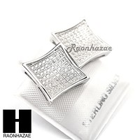 Iced Out Sterling Silver .925 Lab Diamond 13mm Square Screw Back Earring SE016S